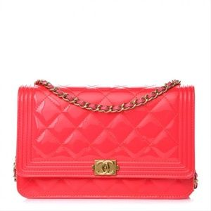 Chanel Boy Hot Chain Wallet Woc Pink Patent